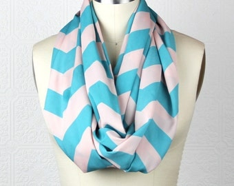 Chevron Scarf: White And Blue Scarf - Turquoise Off White Scarf - Lightweight Infinity Scarf - Loop Scarf