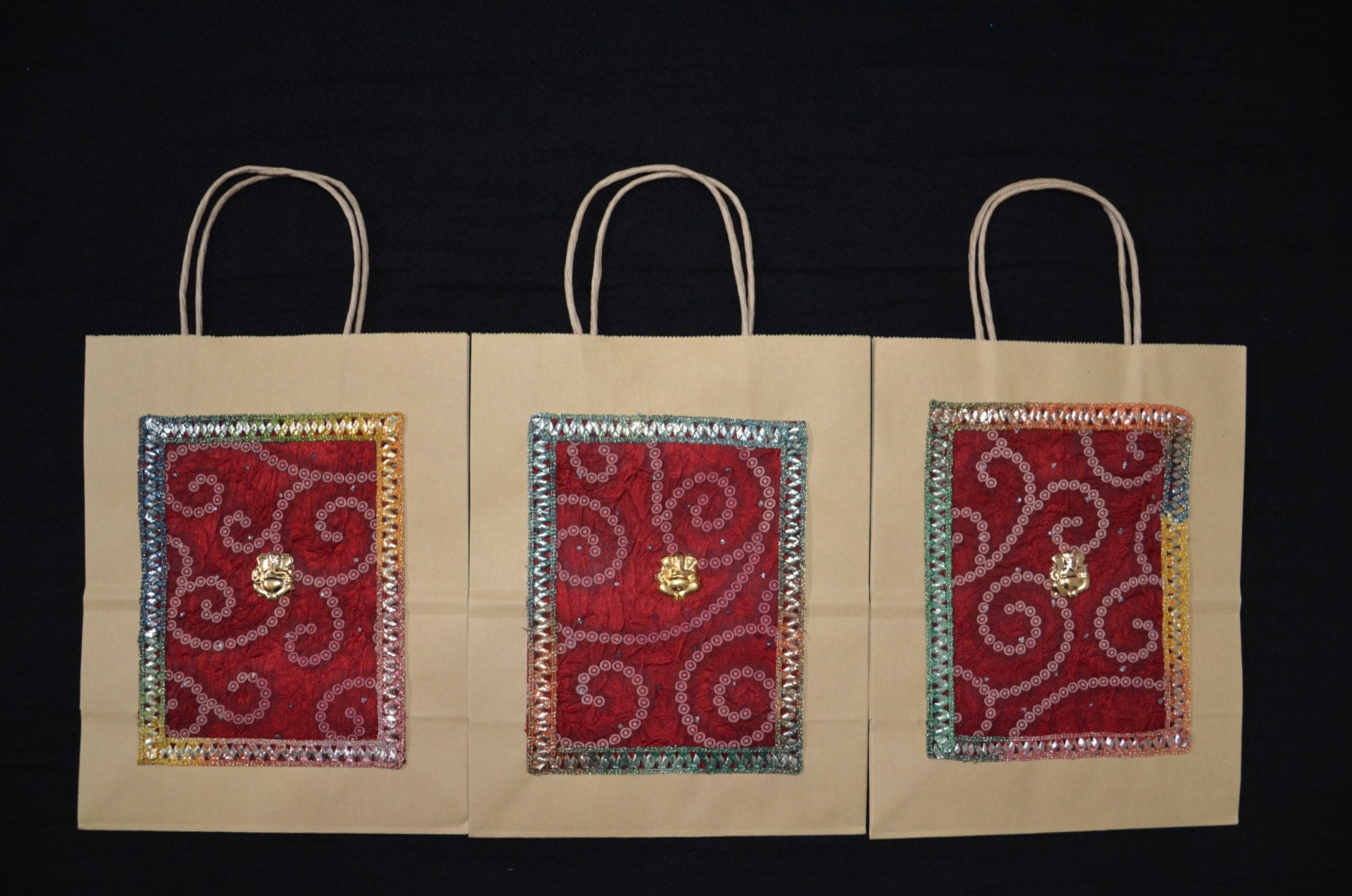 Wedding Favor Bags India : Gift Bags Indian Wedding Gift Bags Kraft Gift Bags Red silk
