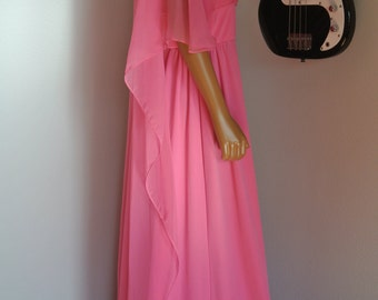 1960s Dress Pink Long Maxi Gown Dress Old Hollywood Glamour Chiffon Capelet Angel Wing Sleeves / L/ XL