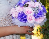 PINK  PURPLE Wedding Paper Roses Glamour Bouquet. Bridal Flowers, Bridesmaids glamour bouquets, Wedding Theme, brides to be. FREE shipping!