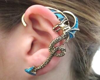 Blue glitter dragon ear cuff - blue dragon ear cuff earrings