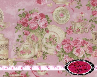 TEA FOR TWO Fabric by the Yard Half Yard or Fat Quarter Northcott Fabric Pink Floral Fabric Tea Cup Fabric 100% Cotton Quilting Fabric t1-8