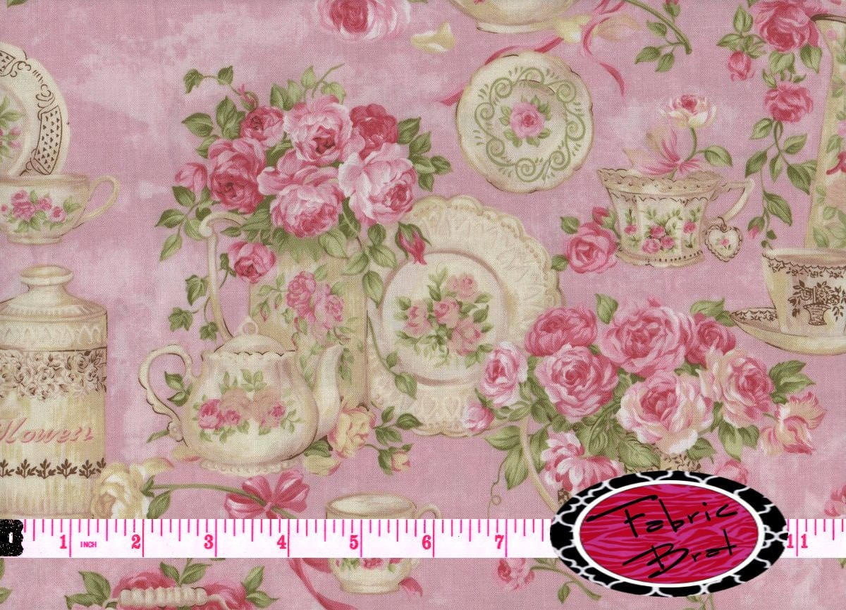 TEA FOR TWO Fabric By The Yard Half Yard Or Fat Quarter