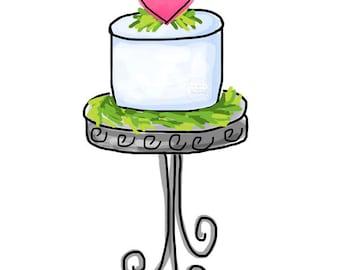 Cake with Pink Heart  - Original Art Digital Download, cake clip art, cake on stand art, cake on pedestal art