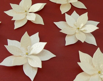 """8 White Gold Shimmering Poinsettias with Rhinestone 2.75"""" great for Christmas Scrapbooking, Embellishments, Garlands, Cupcake Toppers"""