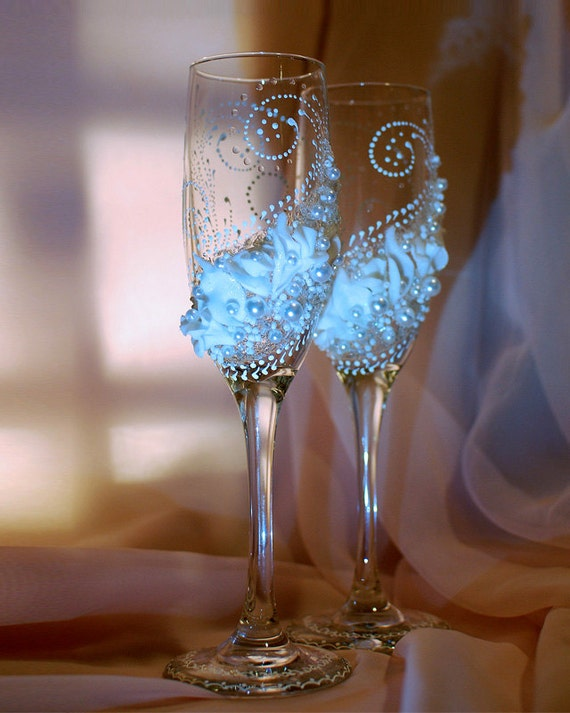 Items similar to wedding glasses champagne glasses for Wedding champagne flutes