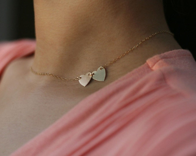 Gold Heart Initial Necklace -Double heart Sideways Initial Necklace . 14K gold filled or Sterling silver EP020
