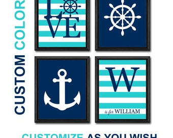 nautical nursery room decor, nautical wall art for kids, personalized nautical baby room decor, anchor nursery, nautical boys room decor