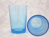 Vintage Set of Blue Retro Glasses / 8 oz / Made in Indonesia