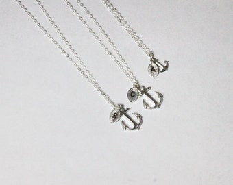 Silver Anchor Necklace Set 2,3,4,5 - Mother Son daughter Necklace Set.Sisters Jewelry Set.Family Brothers Present.Matching Jewelry, Friends