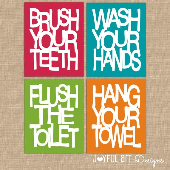 Kids bathroom wall art bathroom rules printables brush wash for Bathroom decor rules