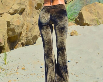 VELVET 70'S tie dye  velour fall fashion hippie chic boho dance yoga festival burning man gypsy flare bell bottom pants (or leggings)