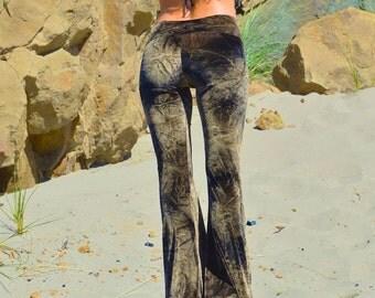 VELVET 70'S tie dye  velour fall fashion hippie chic boho dance yoga festival burning man gypsy flare bell bottom pants (or leggings)