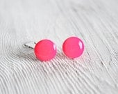 Tiny hot pink stud earrings, minimal post earrings, gift for her under 15, winter fashion by CuteBirdie