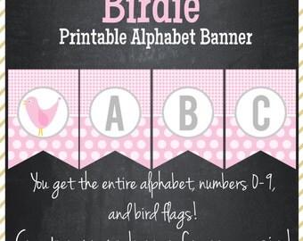 Bird Printable Alphabet Banner - Instant Download
