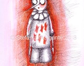 Contemporary artwork art Illustration-Limited edition of prints-Pinocchio-I am not a puppet- black pen and watercolours on paper Print 2/30