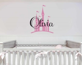 Children Princess Wall Decal - Personalized girls Name with castle vinyl wall lettering.