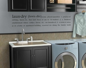 subway laundry decor - laundry room decal - Laun.dry (lawn.dre) laundry room definition - wall art -  5 sizes - laundry room decor