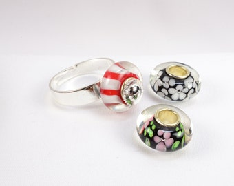 Interchangeable Silver Ring, 3 Lampwork Glass Beads, Red and White Stripes, Black & White, Pink/Green on Black, Adjustable, 6.5 to 11, R1004