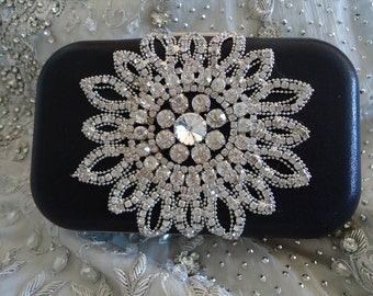 Black Crystal Clutch Vintage Wedding Accesories, Black Bridal Clutch with Crystal Accent, Bridal Evening Bag, Prom Clutch, Formal Party Bag