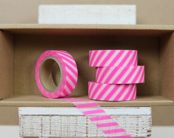 Washi Tape - diagonal neon pink/ shocking pink stripes - N06
