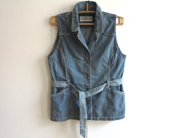 Blue Denim Vest Women Waistcoat Metal Button Country Western Romantic Fitted Tied up  Extra Large Size Vest