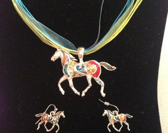Horse Necklace and Earring Set