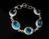 STERLING - Amethyst & Blue Topaz MEGA Rhinestone TOGGLE Bracelet