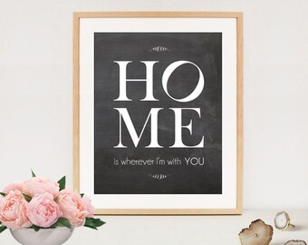 Home is wherever Im with you - Love print quote - Inspirational quote print - 8x10 Wall Decor