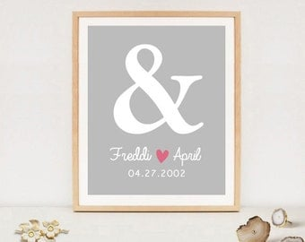 Custom anniversary printable gift - 1st anniversary gift for her and him - DIGITAL FILE!