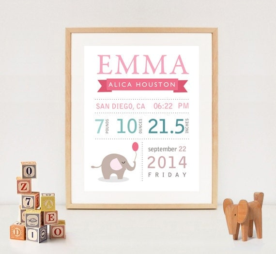 Personalized Elephant Birth Stats Printable DIY By LillyLaManch