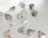 Gemstone Jewelry -Labradorite Necklace -Semi Precious Stone Choker -Hand Knotted Natural Stone Necklace -Urban Minimalist -Grey Choker -Gift
