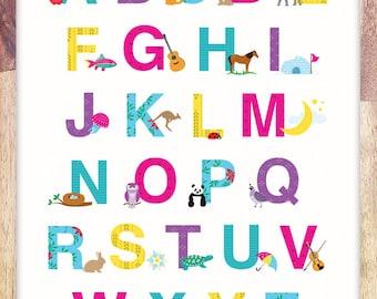Alphabet Print Poster Art For Girls Room