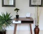 """Mid Century Inspired Writing Desk With Drawer. 30""""x 25"""" Solid Wood.Writing/Study/Computer Desk/Vanity"""