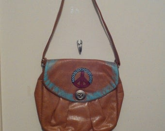 vintage 70s look hand bag, faux leather bag hand painted with 70's look all sales final