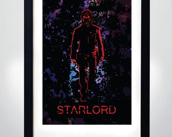 GUARDIANS of the GALAXY inspired, STARLORD Poster, Wall Art Print  (selectable size)