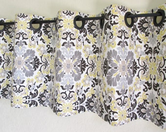grey tan yellow valances curtain window cotton treatment topper