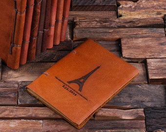 Paris Eiffel Tower Personalized Monogrammed Engraved Notebook Leather Travel Diary Sketchbook Journal (024205)
