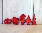 vintage holiday cookie cutters // u-pick individual // red tupperware