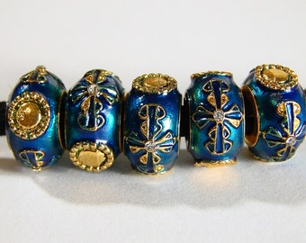 1x Blue Faberge Beads - Large Hole - Fits European - B22