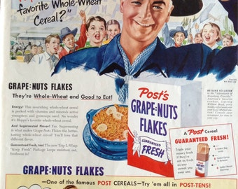 Vintage Hopalong Cassidy Post Cereal Ad from 1950, Pabst Blue Ribbon ad featuring Ben Hogan on the flip side. Check out our coupon code.