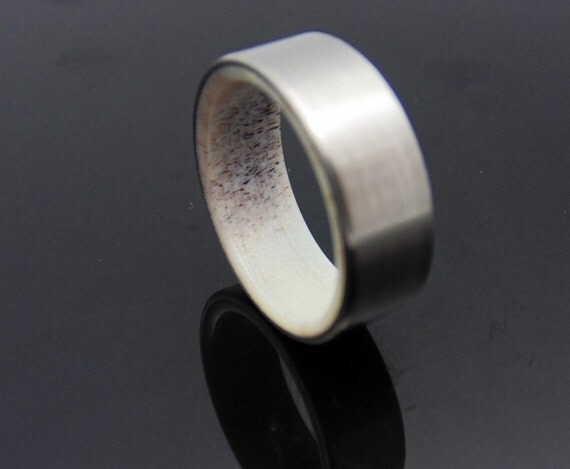 Antler Ring Titanium And Elk Antler Wedding Band