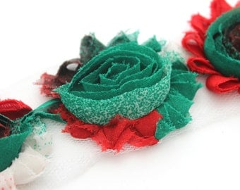 Shabby Rose Flower Trim--Christmas Colorblock Speckles