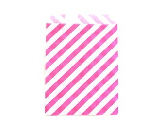 """25 Princess Pink Striped Favor Bags - 5"""" x 7"""" Wedding Treat Bags, Paper Bags"""