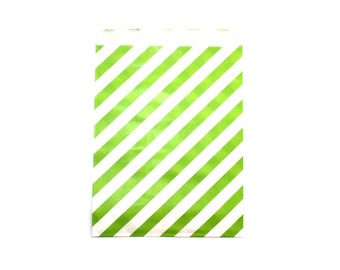 "25 Green Striped Favor Bags - 5"" x 7"" Wedding Treat Bags, Paper Bags"