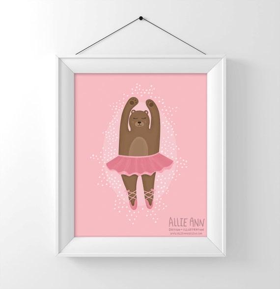 Ballerina Bear, art print, illustration, digital art, childrens art, kids art, bear art
