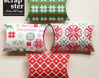 Digital Pillow Box: Nordic Holiday Patterns