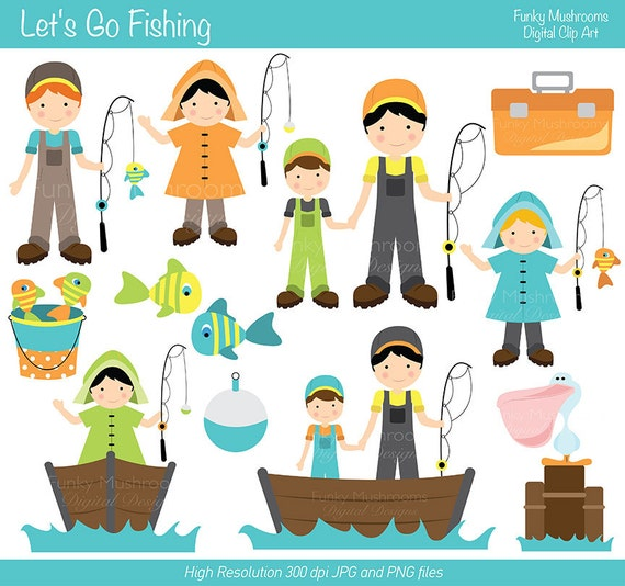 Digital clipart let 39 s go fishing for by funkymushrooms on etsy for Lets go fishing