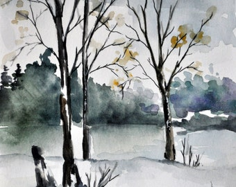Original Watercolor Abstract Winter Landscape Painting, Neutral Tones 5.5 x 8 inch