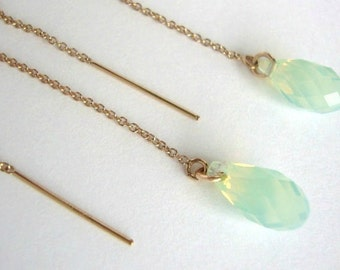 Chrysolite Opal Swarovski Crystal Gold-Filled Threader Earrings - Handmade Jewelry - Bridesmaid Earrings - Minimalist Jewelry - Mint Earring